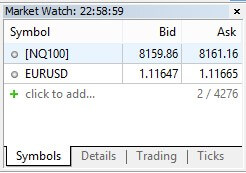 MetaTrader - MarketWatch setup in order the Expert Advisor to work properly with the Advanced-Bot developed by Gero Nikolov